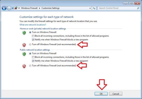 cara mematikan windows firewall