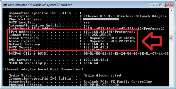 Melihat IP Address melalui cmd