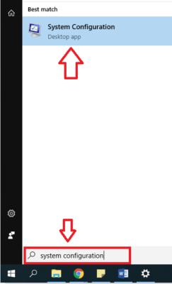 membuka system configuration dari start menu