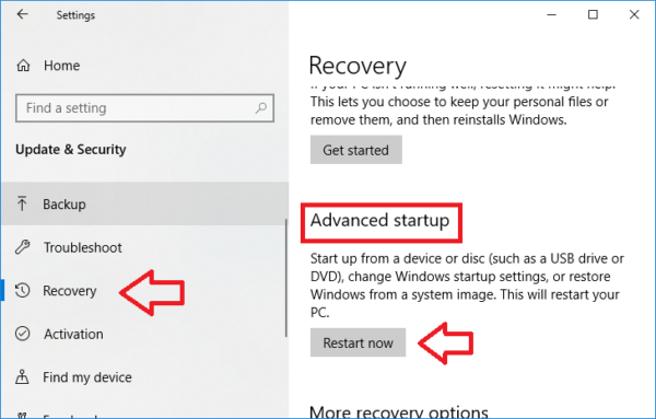 windows 10 setting recovery