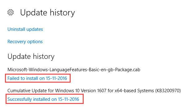 cara melihat history update windows 10