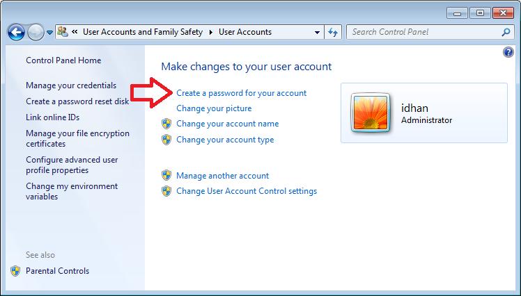 Cara mengunci komputer dengan password