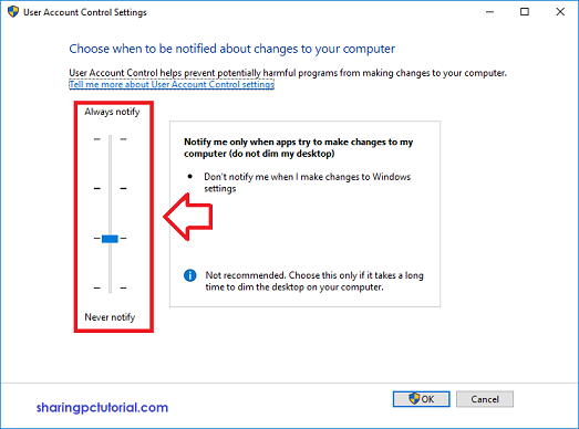 Cara setting UAC di windows 10