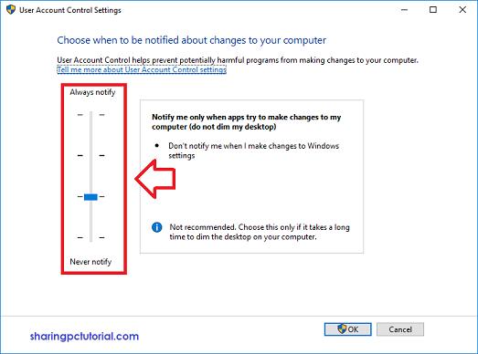 Cara setting UAC di windows 10