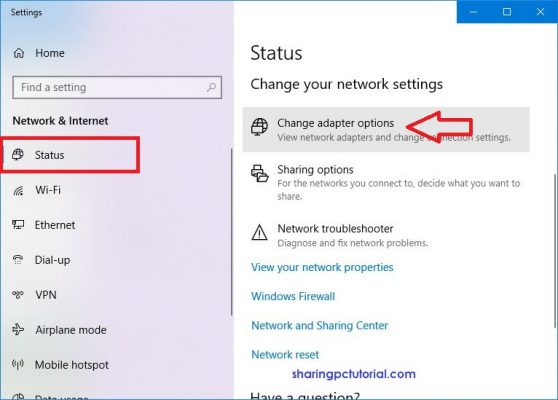 windows 10 change adapter options