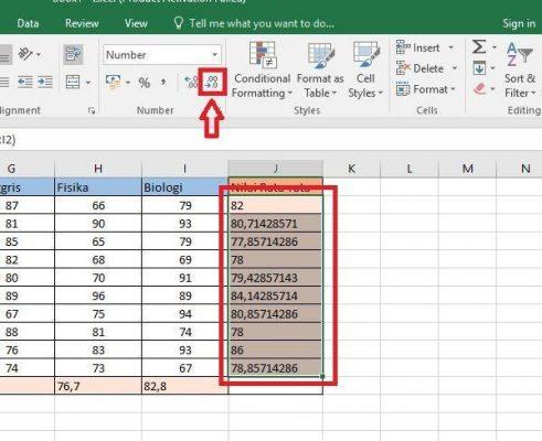 Belajar Excel: Cara menghitung Nilai rata rata di ...