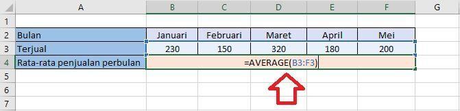cara menghitung nilai rata-rata di excel