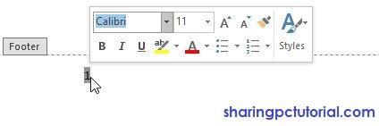 cara merubah jenis dan ukuran font nomor halaman di word