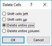 dialog box delete cells