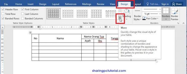 merubah tampilan tabel di word