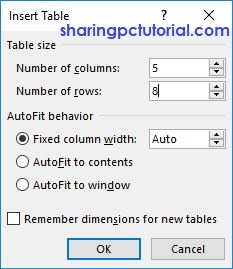 dialog box insert table