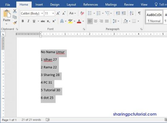 cara membuat tabel di word