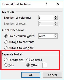 convert text to table