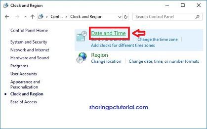 mengganti jam dan tanggal dari control panel