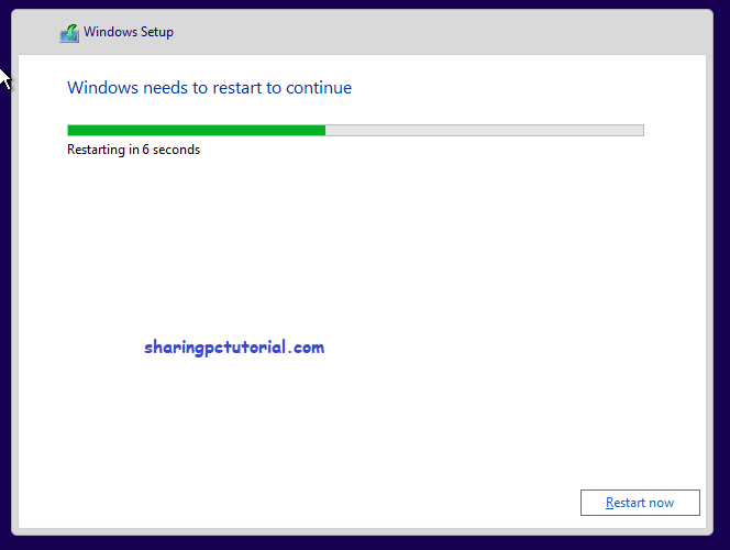 windows setup restart